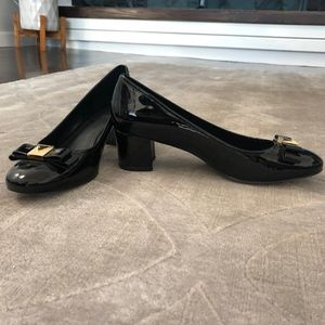 Michael by Michael Kors Patent Black Block Heels